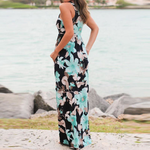 Sleeveless Floral Print Maxi Dress with Pockets - Pocketry