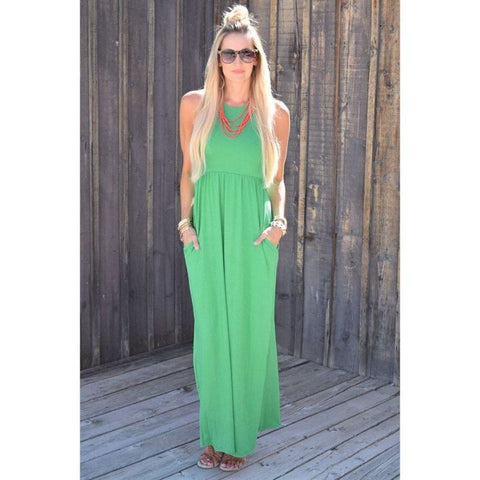 Sleeveless Maxi Summer Dress With Pockets - Pocketry