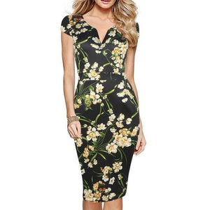 Slim Fit Floral Dress With Pockets - Pocketry