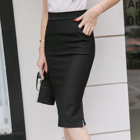 Slim Fit Pencil Skirt With Pockets - Pocketry