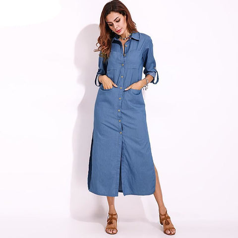 Slit Detail Denim Midi Dress With Pockets - Pocketry