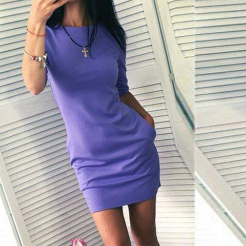 Three Quarter Sleeve Fitted Dress With Pockets - Pocketry