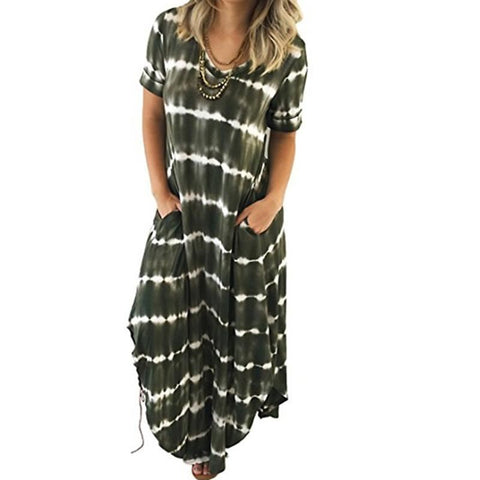 Tie Dye Maxi Dress With Pockets - Pocketry