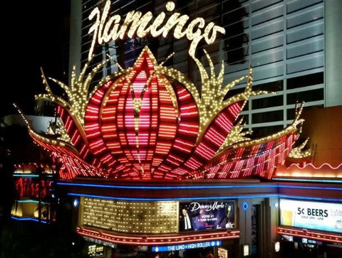 Flaming sign in Las Vegas featured in a blog post by Jackie Vujcich of Colorado Creations Quilting
