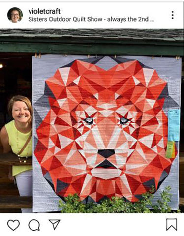 Violet Craft with her lion head quilt pattern design featured in a blog post by Jackie Vujcich of Colorado Creations Quilting