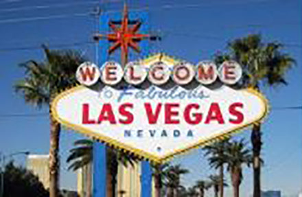 Iconic Las Vegas sign featured in a post by Jackie Vujcich of Colorado Creations Quilting