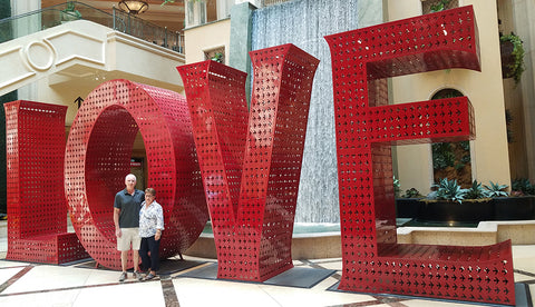 Large red 12-foot letters that spell LOVE at the Venetian in Las Vegas featured in a blog post by Jackie Vujcich of Colorado Creations Quilting