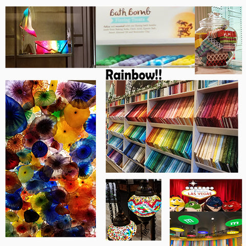 Various rainbow color schemes found in unusual places featured in a blog post by Jackie Vujcich of Colorado Creations Quilting