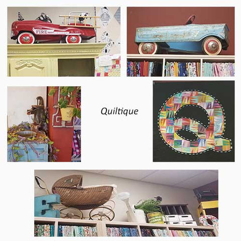 Collage of antique sewing machines toy cars at Quiltique fabric shop in Henderson, NV featured in a blog post by Jackie Vujcich of Colorado Creations Quilting