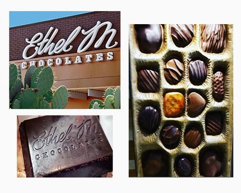 Collage of Ethel M Chocolate factory featured in a blog post by Jackie Vujcich of Colorado Creations Quilting