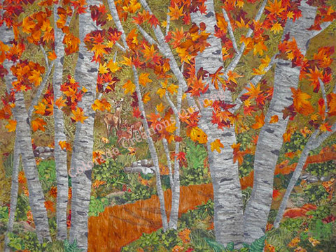 Among-The-Trees-quilt-by-Jackie-Vujcich-of-Colorado-Creations-Quilting features a grove of aspen trees
