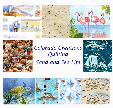 Combination of quilting fabrics featuring sailboats, lighthouses, seashells, sea turtles, flamingos, sand pipers and seagulls