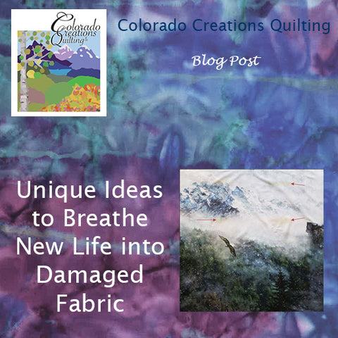 Blog post picture features damaged fabric featuring eagles flying over the mountains.  Unique Ideas to Breathe New Life into Damaged Fabric by Colorado Creations Quilting