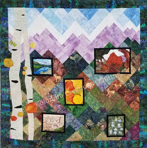 Snapshots of Colorado quilt by Jackie Vujcich features images of Garden of the Gods, aspen leaves, columbines, Maroon Bells and Mesa Verde