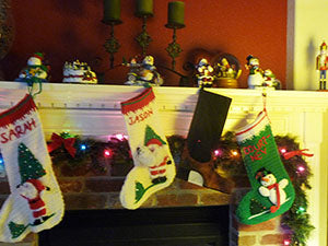 crocheted stockings by the fireplace