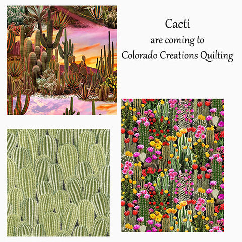 Collage of cactus cotton fabric by Timeless Treasures is available at Colorado Creations Quilting