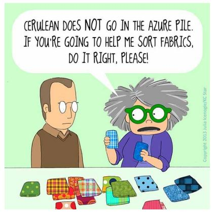 Mrs. Bobbins cartoon about sorting fabric by color