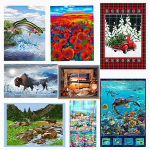 Cotton fabric panels with a nature theme available at Colorado Creations Quilting