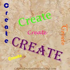 """The word """"create"""" is in different colors and fonts on a tan background."""