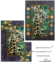 Two quilts each featuring giraffes