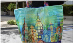 Tote using fabric panel