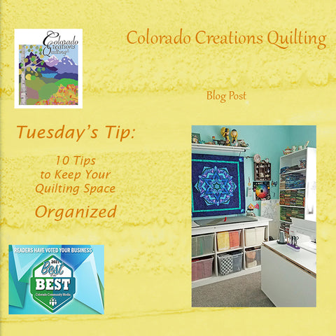 A clean quilting room with fabric neatly stacked on shelves or bins.  See my tips on how to organize your sewing space at Colorado Creations Quilting blogs