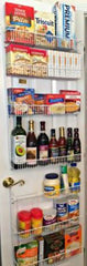 pantry storage over the door rack with various food items on the racks