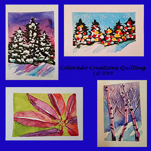 Watercolor Christmas cards designed and painted by Jackie Vujcich of Colorado Creations Quilting