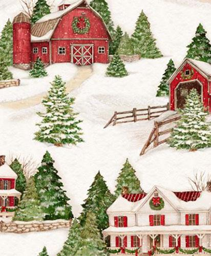 This fabric features evrything you would imagine a snow-covered village would have: stately farmhouses, covered bridges and rustic red barns adorned with holiday decor.  Picture yourself in the vintage red pickup just coming back from cutting down an evergreen for the holidays. It's sure to make a great center in your next seasonal quilt. Available at Colorado Creations Quilting