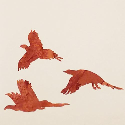 laser cut set of 3 pheasants on brown batik fabric available at Colorado Creations Quilting