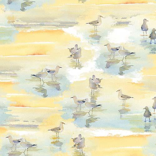This cotton fabric features watercolored sand pipers on a rich blue background. Available at Colorado Creations Quilting