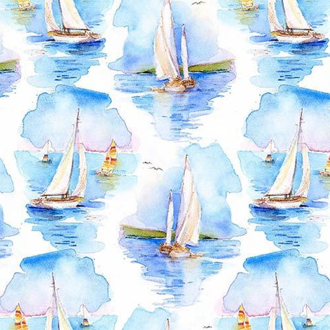 This cotton fabric features watercolored sailboats on a rich blue background. Available at Colorado Creations Quilting
