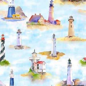 This cotton fabric features watercolored light houseson a rich blue background. Available at Colorado Creations Quilting