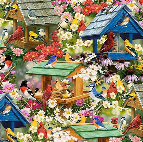 "For all you bird lovers out there, this adorable print featuring birds such as red cardinals, bluejays, gold finches, chickadees and more! Additionally their delightful birdhouses along with a variety of flowers like coneflowers and daisies has ""Spring"" written all over it. Available at Colorado Creations Quilting"