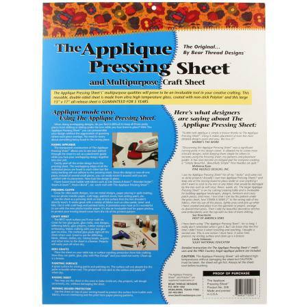 Applique Prressing Sheet back cover available at Colorado Creations Quilting