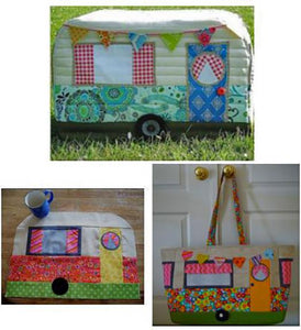 3-d sewing machine cover , place mat, or tote with bright curtains, door and button embellishments