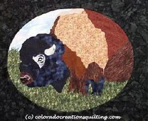 Close-up of a buffalo in an oval frame.  Quilt pattern available at Colorado Creations Quilting