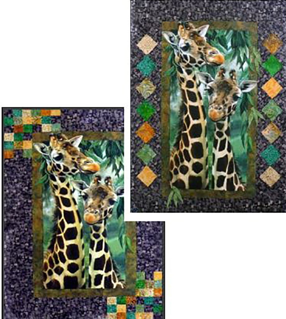 This quilt shows mom and baby giraffes surrounded by a brown border with either numersous small squares in the corners of the borders or diamonds on the side borders.  Available at Colorado Creations Quitling