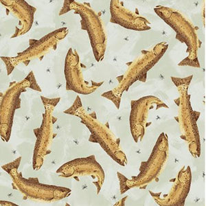 Brown Trout on Gray Cotton Fabric available at Colorado Creations Quilting