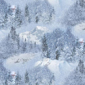 Snow Covered Trees Nestled in Snow Covered Mountains