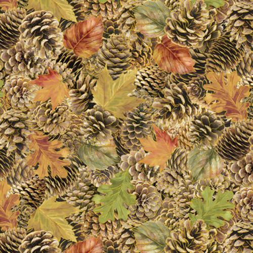 Autumn leaves in gold, rust, green and pine cones all outlined in metalic gold fabric by Timeless Treasures
