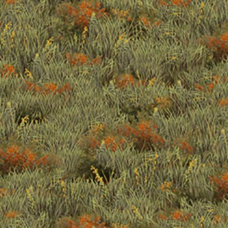 Sage green grass with clumps of wildflowers, cotton fabric by Quilting Treasures