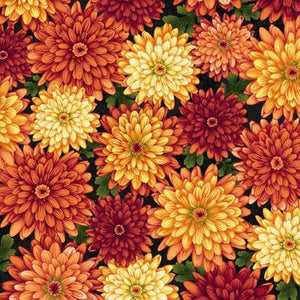 Large mums in colors of gold, and orange on a green background available at Colorado Creations Quilting