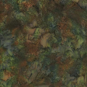 Mottled green and brown batik cotton fabric. Available at Colorado Creations Quilting