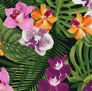 Violet and golden orchids are mixed with green banana leaves on a black background in this Timeless Treasures fabric.