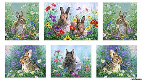 This fabric panel features extremely lifelike rabbits surrounded by wildflowers and daisies.  Available at Colorado Creations Quilting
