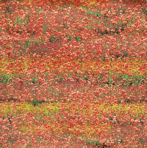 multiple red wildflowers in a field of green cotton fabric
