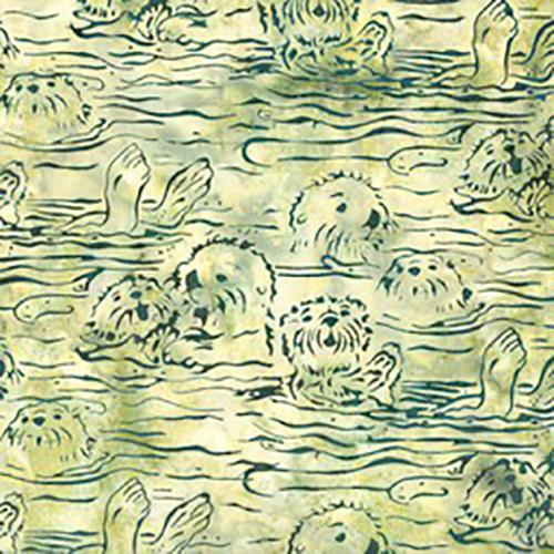Sea Otters on Celery Green Batik Cotton Fabric