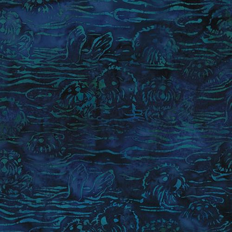 Sea Otters on Navy Blue Batik Cotton Fabric