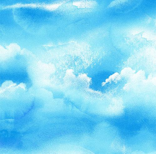 Sky Rich Blue with Billowy Large White Clouds Fabric by Timeless Treasures